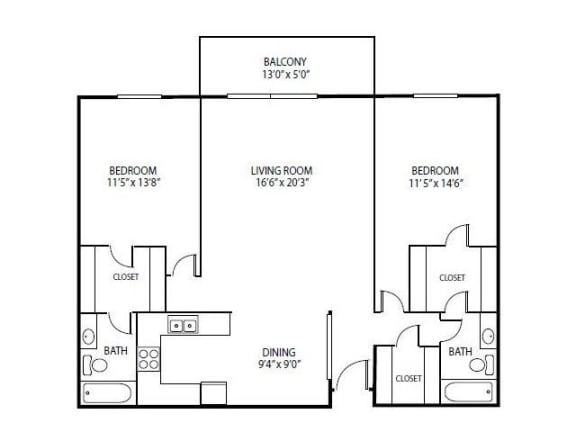Floor Plan  Cedars Lakeside Apartments in Little Canada, MN 2 Bedroom Apartment Spruce Floor Plan