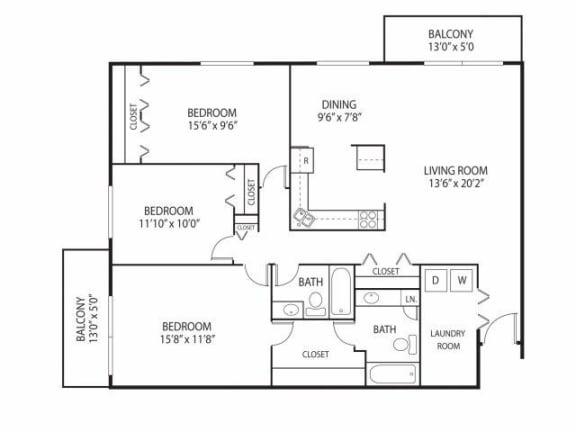 Floor Plan  Cedars Lakeside Apartments in Little Canada, MN 3 Bedroom Apartment Willow Floor Plan