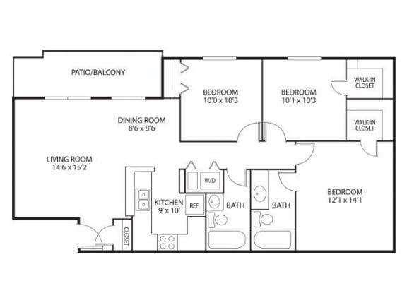Floor Plan  Mallard Ridge Apartments in Maple Grove, MN 3 Bedroom 2 Bathroom