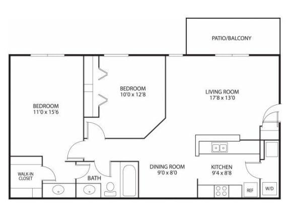 Floor Plan  Mallard Ridge Apartments in Maple Grove, MN 2 Bedroom 1 Bathroom