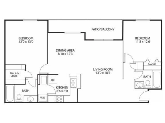 Floor Plan  Mallard Ridge Apartments in Maple Grove, MN 2 Bedroom 2 Bathroom