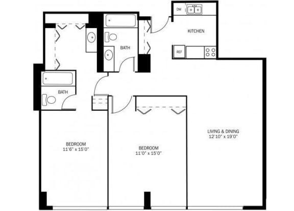 Floor Plan  Kellogg Square Apartments in St. Paul, MN 2 Bedroom 2 Bath Apartment