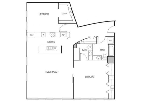 Floor Plan  Lowertown Lofts in St. Paul, MN 2 Bedroom 2 Bath Apartment