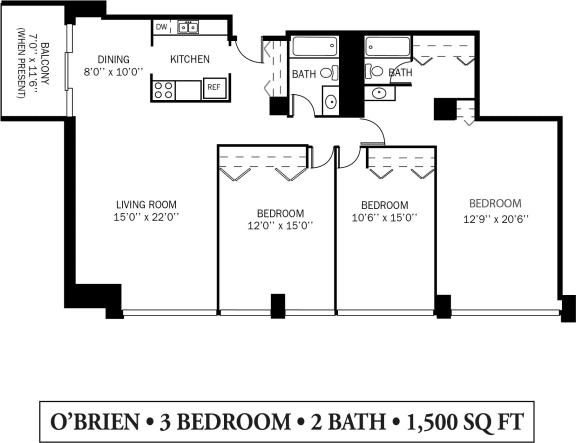Kellogg Square Apartments in St. Paul, MN 3 Bedroom 2 Bathroom Apartment