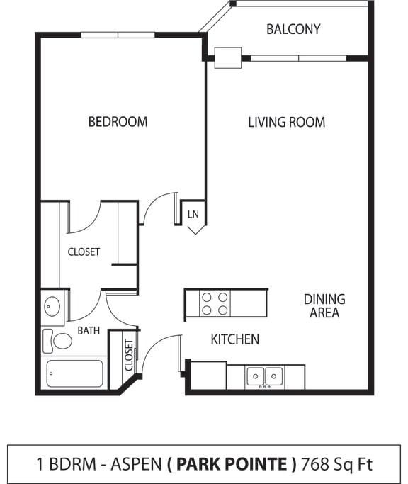 Floor Plan  Park Pointe Apartments in St. Louis Park, MN 1 Bedroom 1 Bath