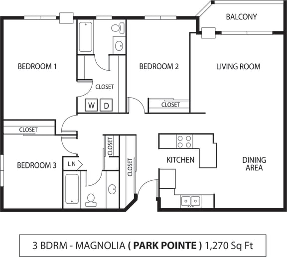 Floor Plan  Park Pointe Apartments in St. Louis Park, MN  3 Bedroom 2 Bath