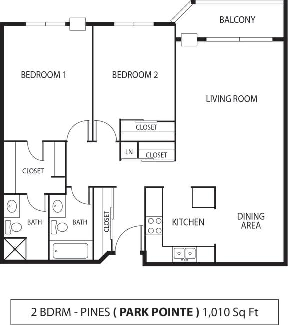 Floor Plan  Park Pointe Apartments in St. Louis Park, MN 2 Bedroom 2 Bath