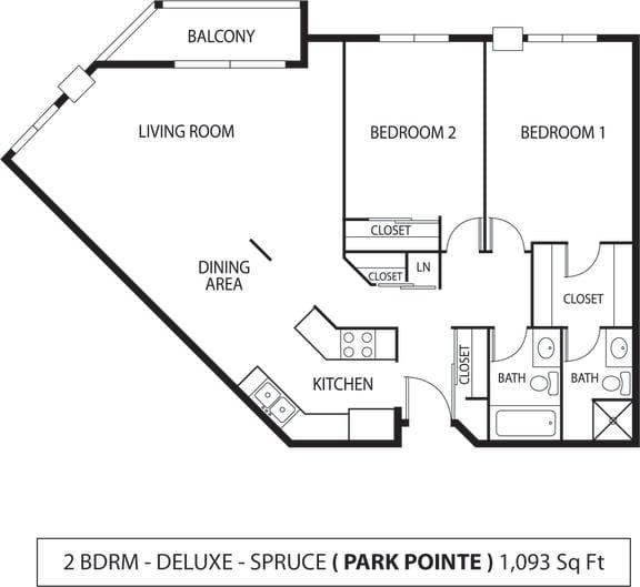 Floor Plan  Park Pointe Apartments in St. Louis Park, MN 2 Bedroom 1.75 Bath
