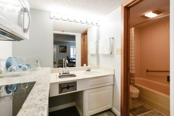studio kitchen with bath at Plato's Cave Apartments Branson, MO 65616