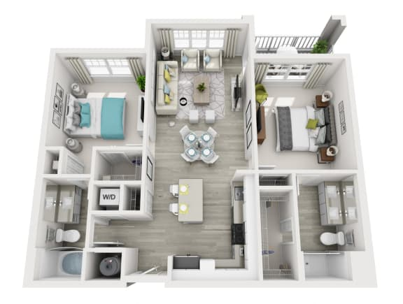 2 Bedroom 2 Bathroom Located in Ariya Building, Apartment Accessed Through Air Conditioned Hallways Served by Elevators