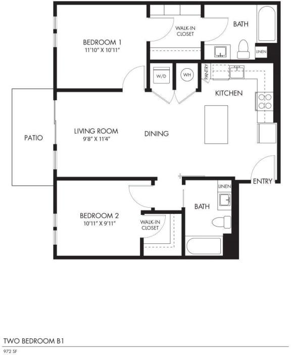 AIYA Apartments B1 2D Floor Plan