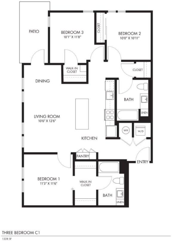 AIYA Apartments C1 2D Floor Plan