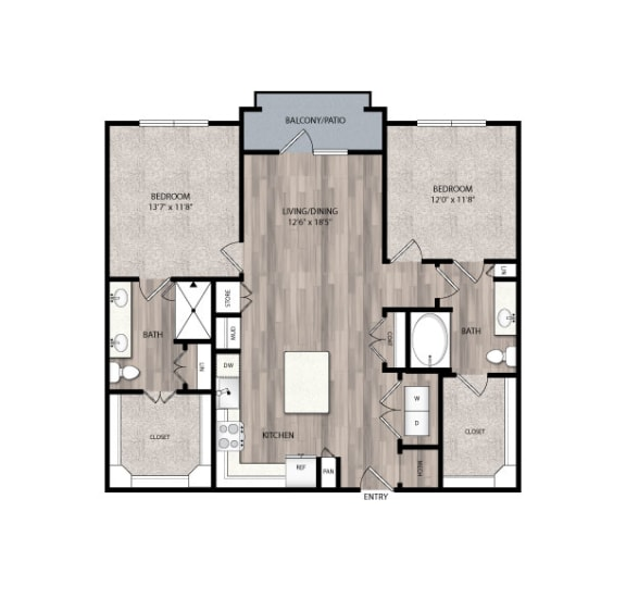 Floor Plan  The Edison at Frisco C2 Two Bedroom Two Bathroom Floor Plan