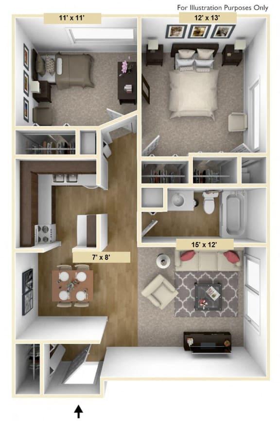 Floor Plan  Roseland Two Bedroom Floor Plan at Windsor Place, Michigan, 48423