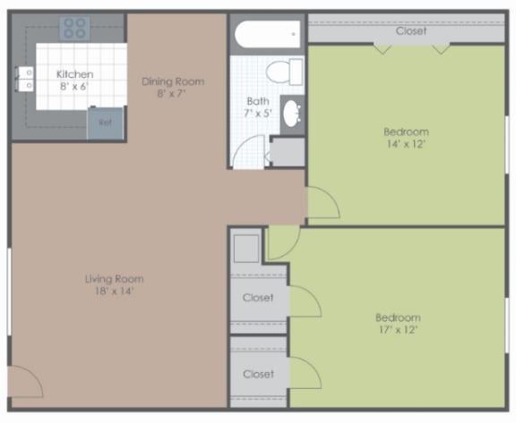 2 Bedroom 1 Bath floor plan image 820 sq ft