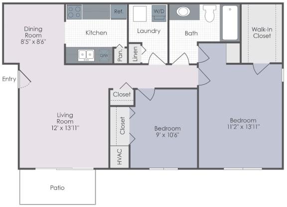 Two bedroom, one bathroom two dimensional floor plan.