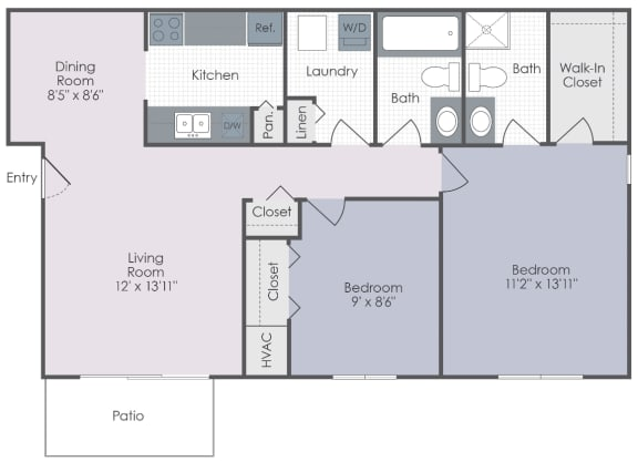 Two bedroom, two bathroom two dimensional floor plan.