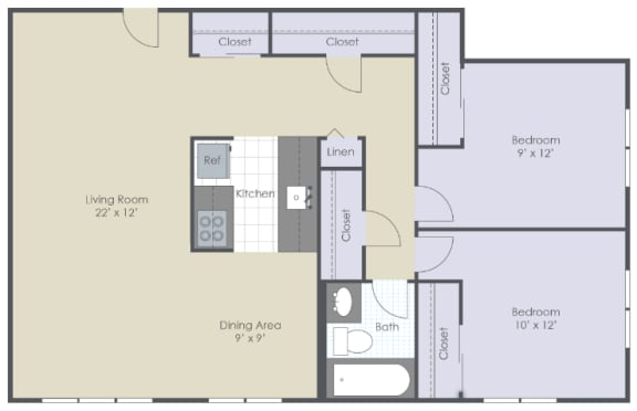 Two bedroom, one bathroom two dimensional floor plan.