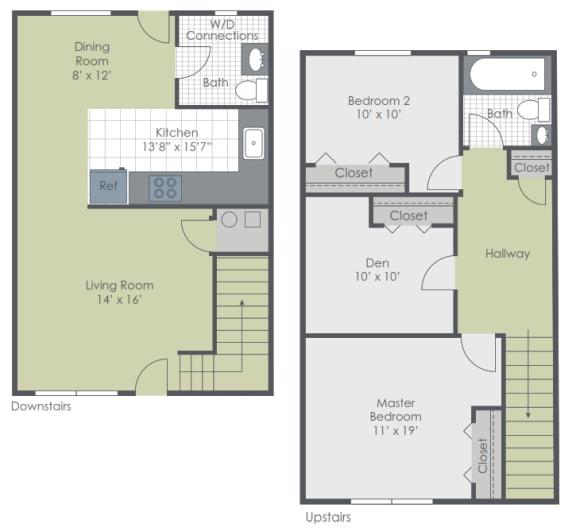 3 Bedroom 1.5 Bath Townhome 1000 sq ft floor plan image