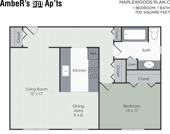 Floor Plan  One bedroom apartment layout