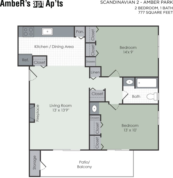 Floor Plan  Two bedroom apartment layout