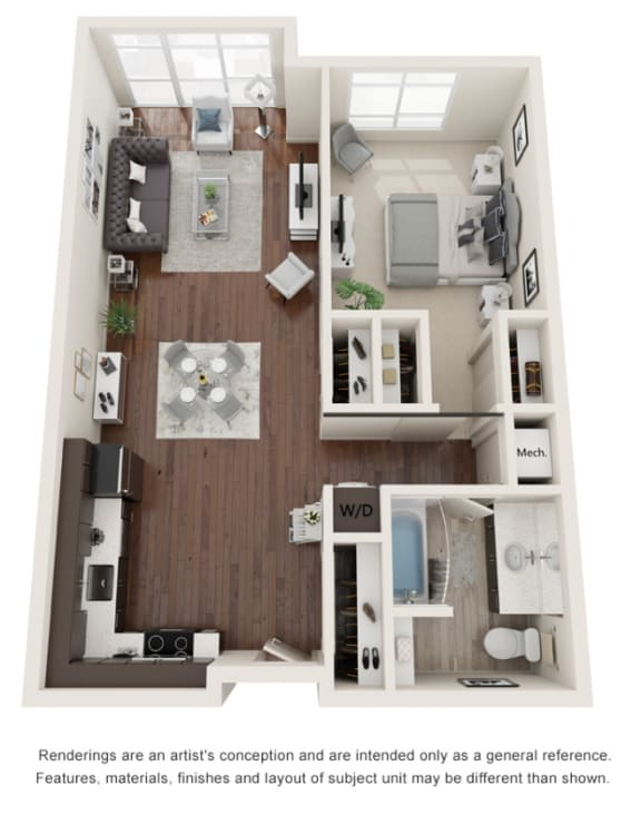 One bedroom, one bath three-dimensional floor plan layout. Kitchen and living to the left. Bathroom and bedroom to the right.