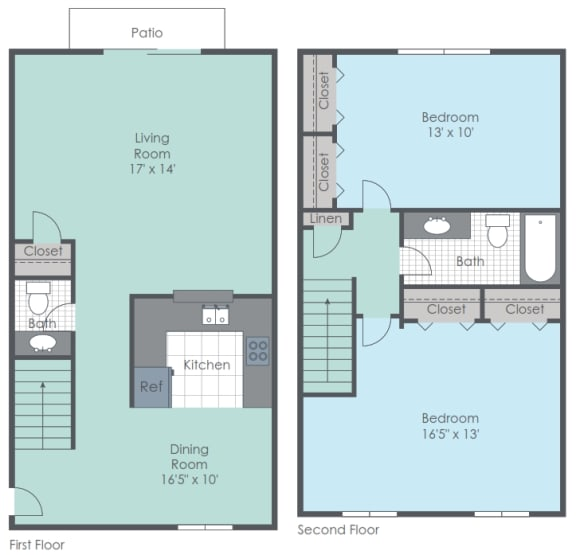 Two bed, One and a half bath 2D townhome.