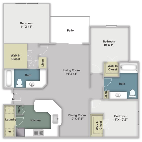 Three bed, two bath two dimensional floor plan.