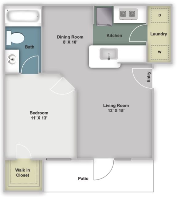 One bedroom, one bathroom 620 square feet two dimensional floor plan.
