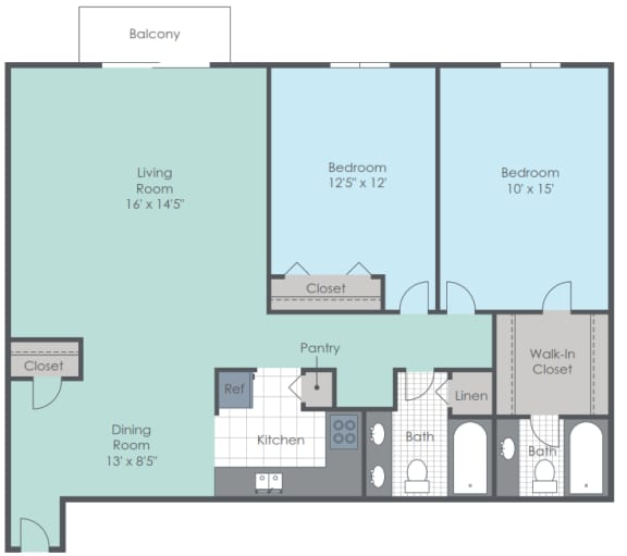 Two bed, two bath two dimensional floor plan.