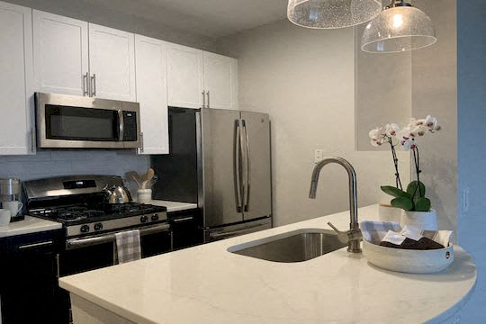 Renovated Kitchens with Quartz Countertops and Stainless Steel Appliances