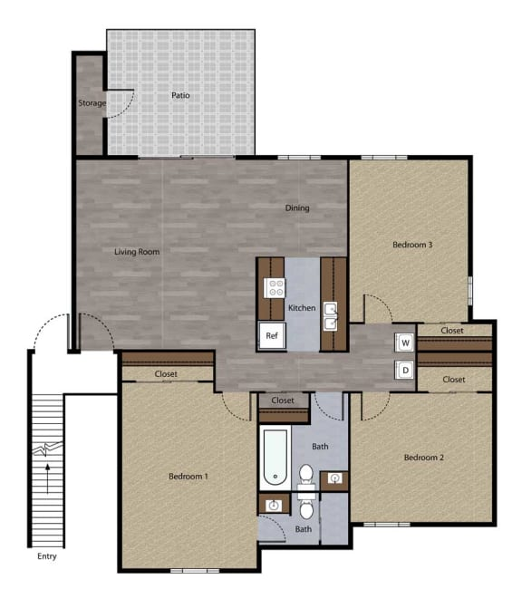 Three Bedroom Floorplan at St. Charles Oaks Apartments, Thousand Oaks, CA