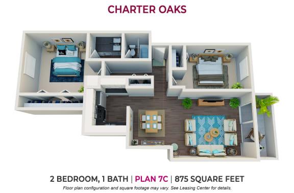 Floor Plan  Two Bedroom Plan 7C