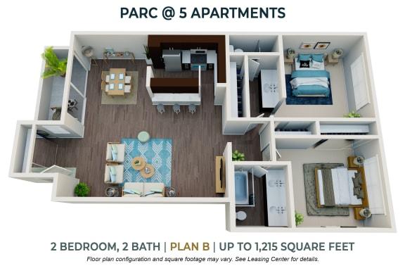 Floor Plan  Two Bedroom Plan B