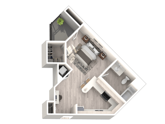 Floor Plan A - Studio 1 Bathroom - 519 sqft