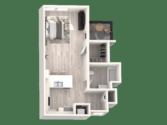 Floor Plan B - Studio 1 Bathroom - 567 sqft