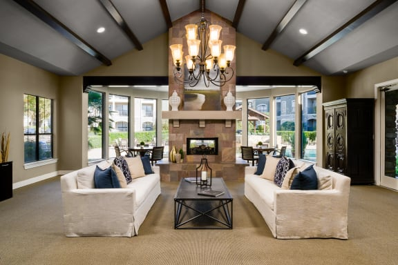 Elegant Clubroom with Kitchen, Fireplace and Lounge Areas