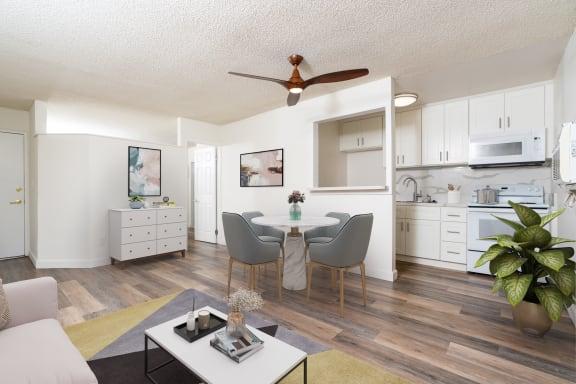 furnished living room with hardwood flooring