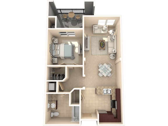 Floor Plan  Cypress – 1 Bedroom 1 Bath Floor Plan Layout – 736 Square Feet