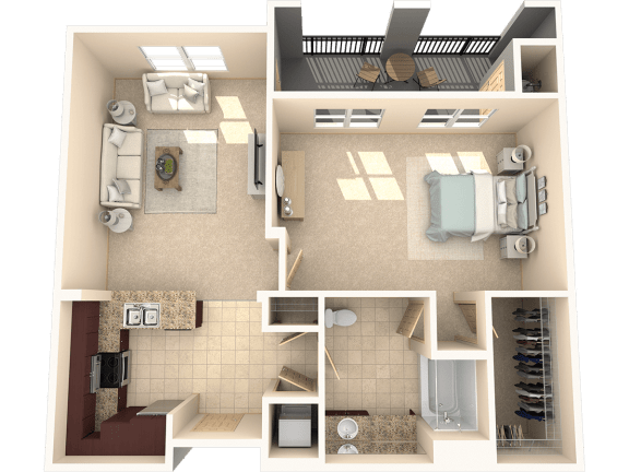 Floor Plan  Juniper – 1 Bedroom 1 Bath Floor Plan Layout – 866 Square Feet