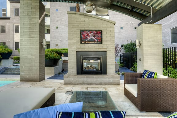 outdoor living pavilion with tv