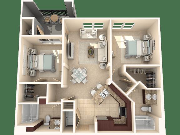 Floor Plan  Mulberry – 2 Bedroom 2 Bath Floor Plan Layout – 1120 Square Feet