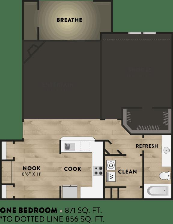 1x1 - 1 Bedroom 1 Bath Floor Plan Layout - 871 Square Feet