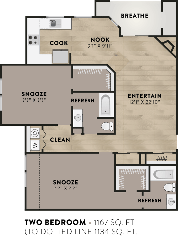 2x2 - 2 Bedroom 2 Bath Floor Plan Layout - 1167 Square Feet
