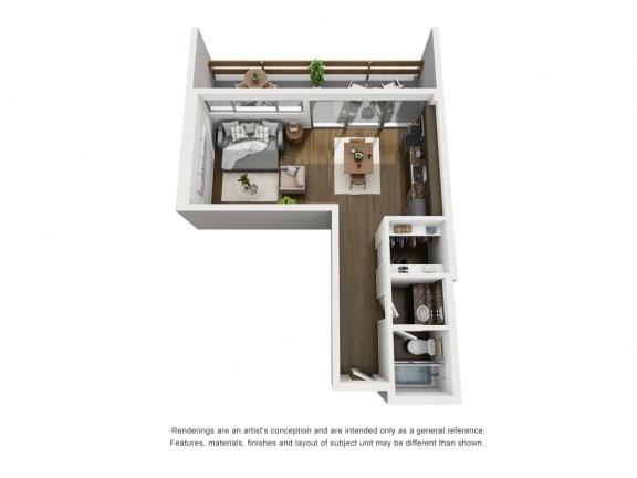 A  – 0 Bedroom 1 Bath Floor Plan Layout – 477 Square Feet