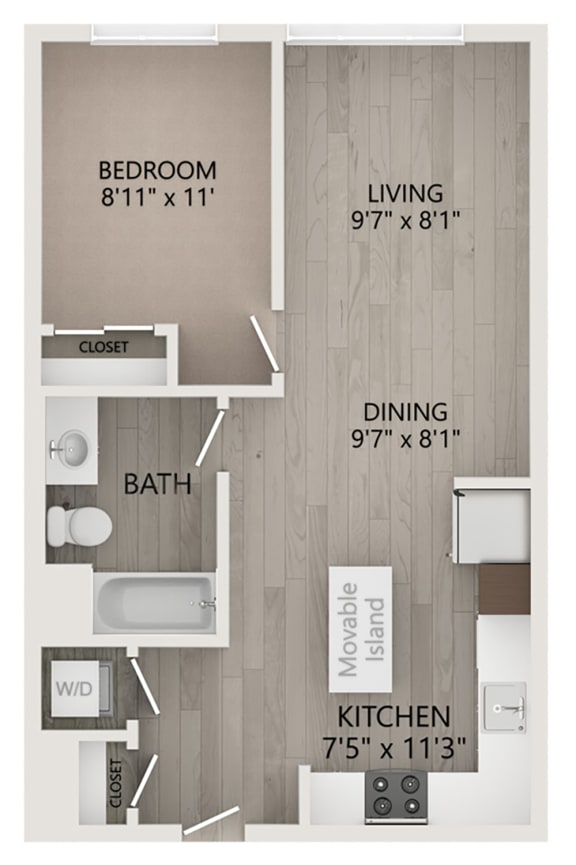 Floor Plan  Miro – 1 Bedroom 1 Bath Floor Plan Layout – 656 Square Feet