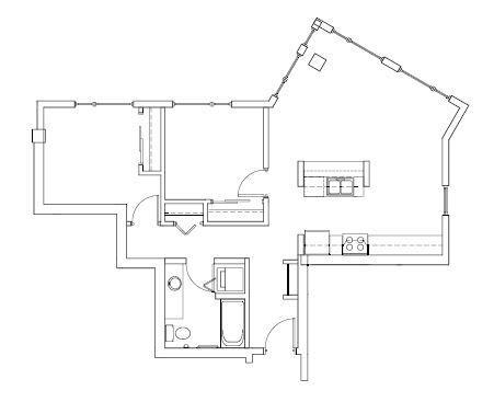 Recreated – 2 Bedroom 1 Bath Floor Plan Layout – 860 Square Feet