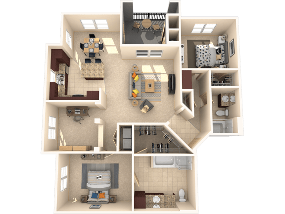 Floor Plan  Sequoia – 2 Bedroom 2 Bath Floor Plan Layout – 1371 Square Feet