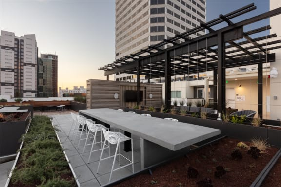 Luxurious rooftop lounge with city view
