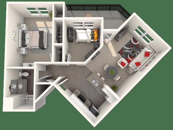 Floor Plan  Villa - Two bedroom, one bathroom at FountainGlen Temeucla